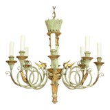 Image of Italian 1960s Vintage Painted and Parcel-Gilt Chandelier For Sale