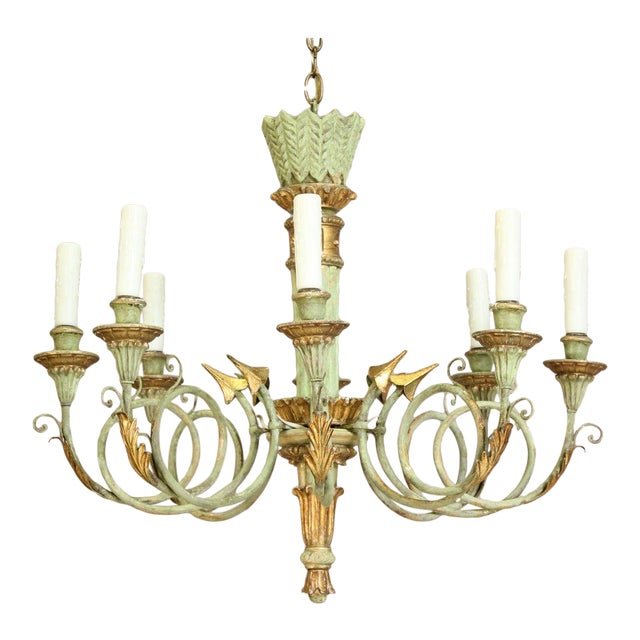 Italian 1960s Vintage Painted and Parcel-Gilt Chandelier For Sale