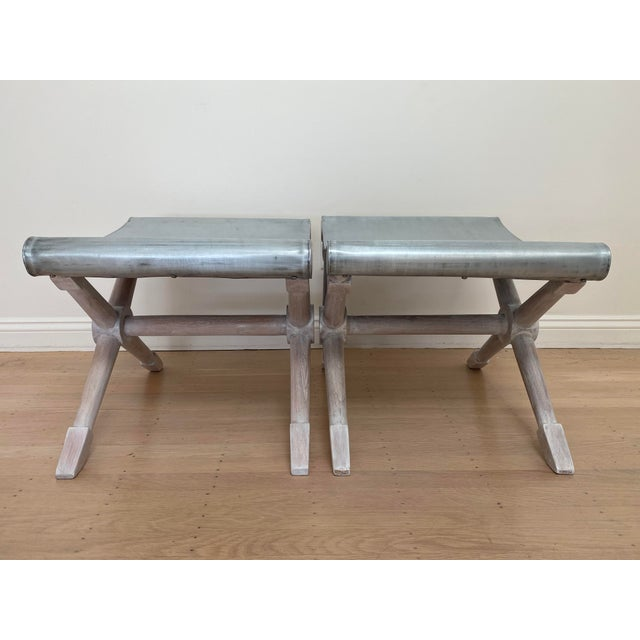 Mid-Century Modern Cerused Finish X-Bench - a Pair For Sale - Image 4 of 13
