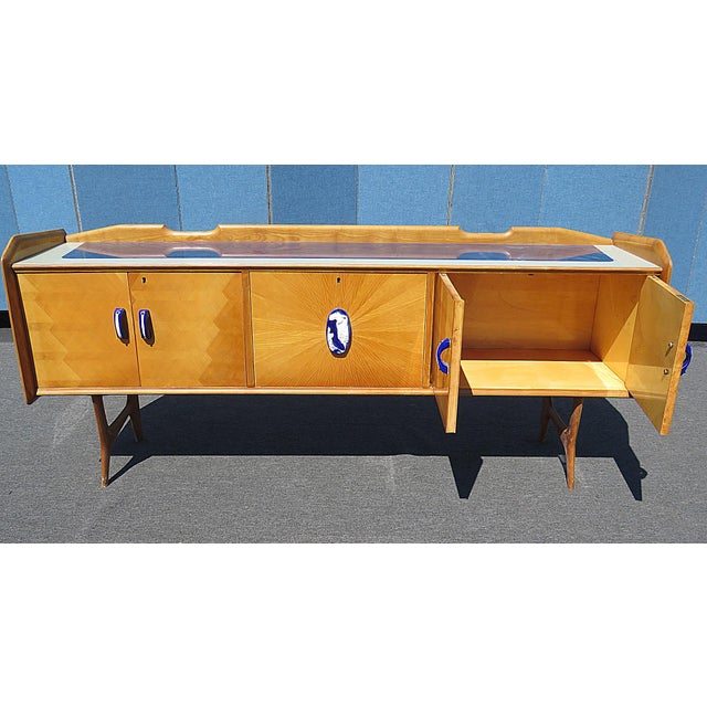 Italian Mid Century Italian Glass Top Credenza For Sale - Image 3 of 8