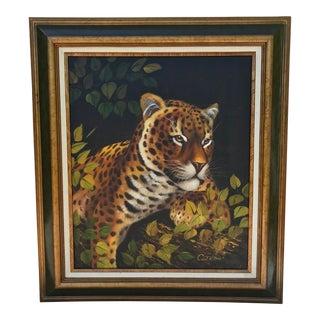 Vintage Mid-Century Leopard Signed Original Oil Painting For Sale