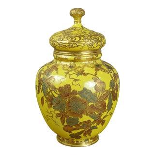 Royal Crown Derby Lidded Yellow Floral Porcelain Vase For Sale