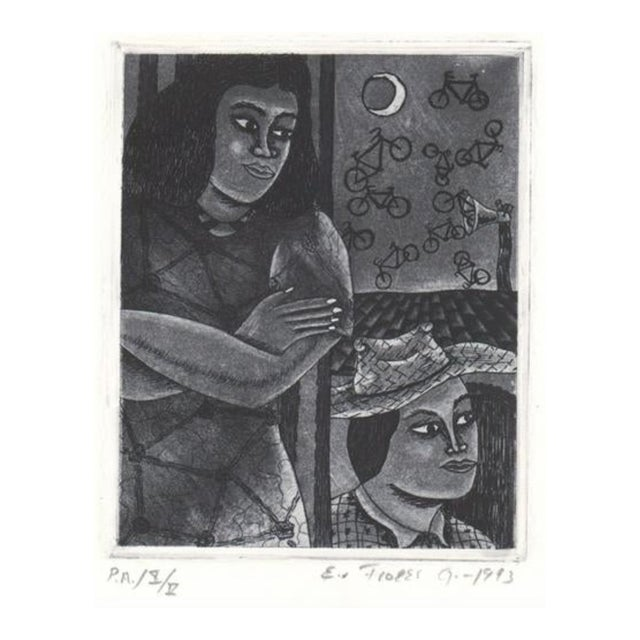1993 Modern Portrait Aquatint With Flying Bicycles For Sale