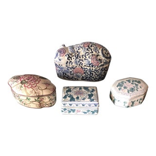 Asian Ceramic Box Collection - 4 Pieces For Sale