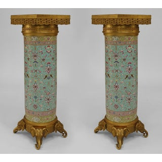 Pair of English Regency Style Turquoise Chinese Porcelain Pedestals