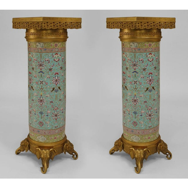 Pair of English Regency Style Turquoise Chinese Porcelain Pedestals For Sale - Image 11 of 11