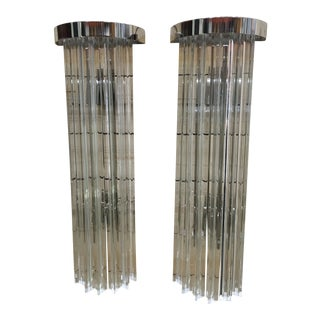 Vintage Contemporay Style Murano Glass Triedo Wall Sconces - a Pair For Sale