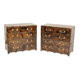 Late 20th Century Vintage Baker Lacquered Chests of Drawers - A Pair For Sale