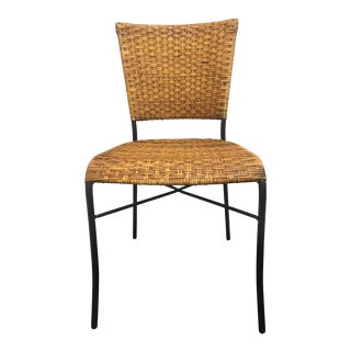Late 20th Century Vintage Rattan and Black Iron Dining Side Chair For Sale