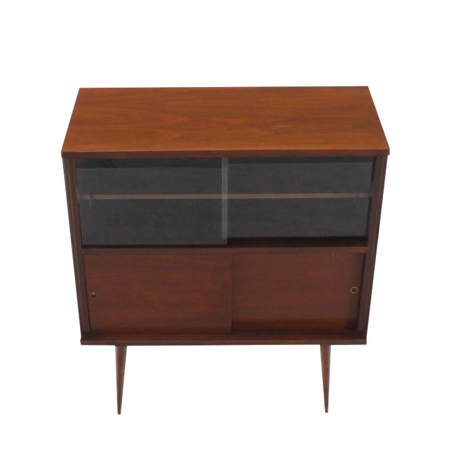 Mid-Century Modern Walnut Cabinet with Sliding Glass Doors For Sale