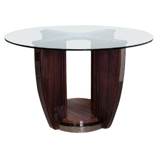 Palisander Art Deco Round Center/Dining Table Attributed to Louis Sognot For Sale
