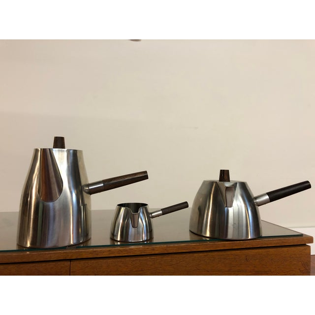 Vintage Lundtofte stainless steel coffee and tea service set with Brazilian rosewood handles. This set comprises of a tall...
