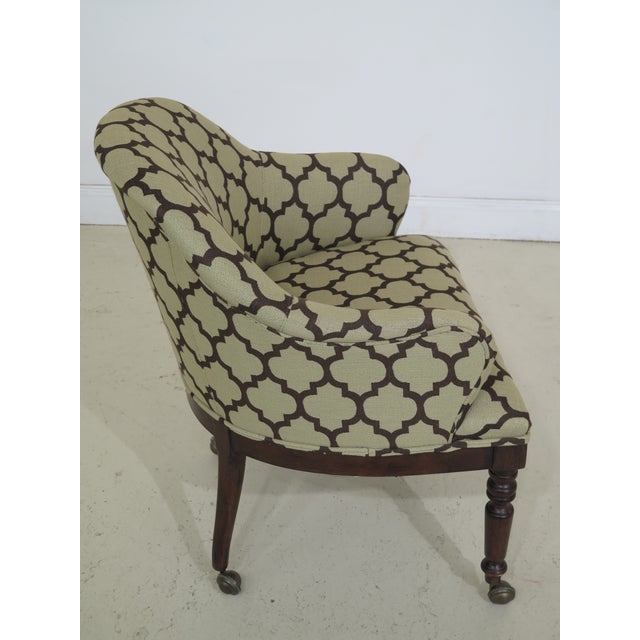Modern Century Geometric Print Upholstered Club Chairs- A Pair For Sale - Image 4 of 12
