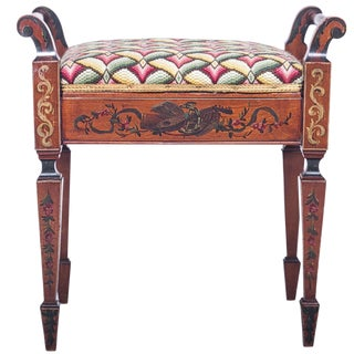 Late 19th Century Vintage English Painted Satinwood Bench For Sale
