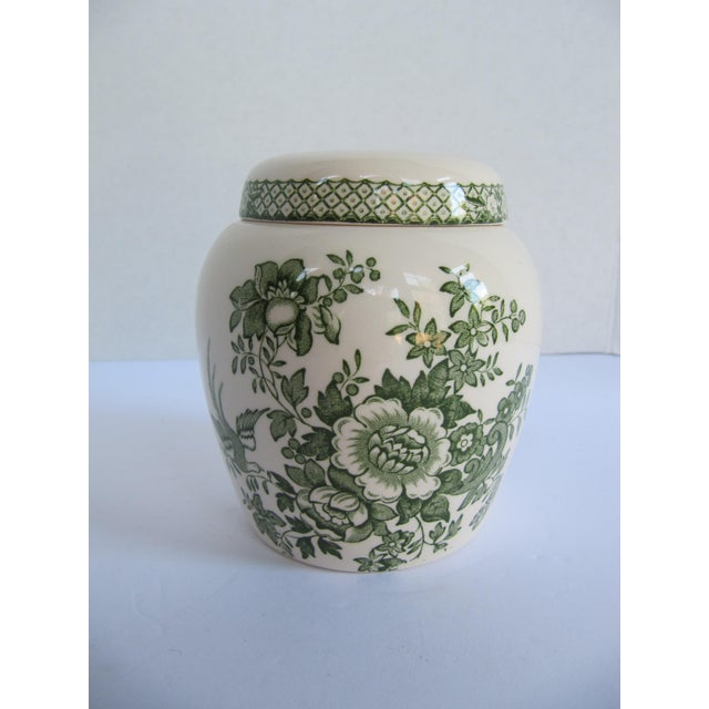 English ironstone ginger jar with green flower design. Marked Mason's of England. This beautiful jar could be used for...