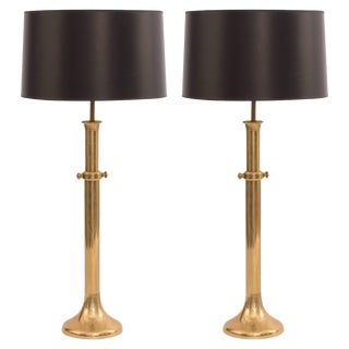 Pair of Large-Scale Patinated Brass Lamps by Warren Kessler For Sale