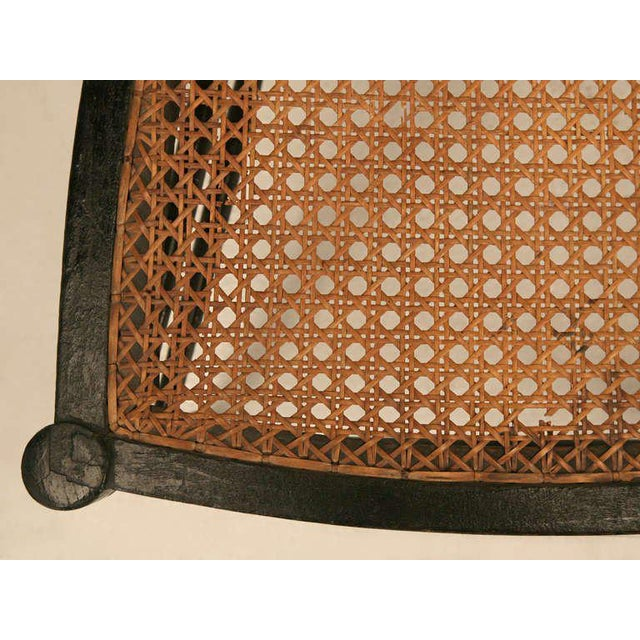 Original Antique French Napoleon III Ladderback Chair With New Linen Pad For Sale - Image 9 of 10