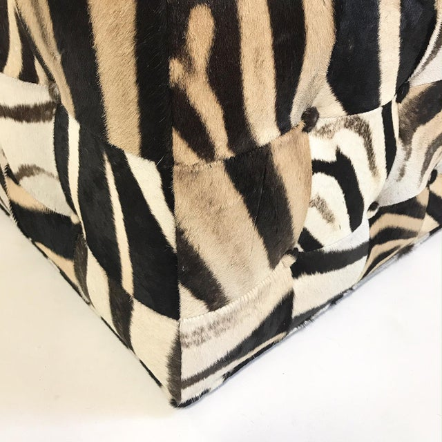 Tan Forsyth One of a Kind Patchwork Zebra Hide Ottoman For Sale - Image 8 of 8