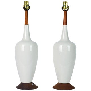 Tall Midcentury Danish Modern Style Ceramic and Teak Table Lamps - A Pair For Sale