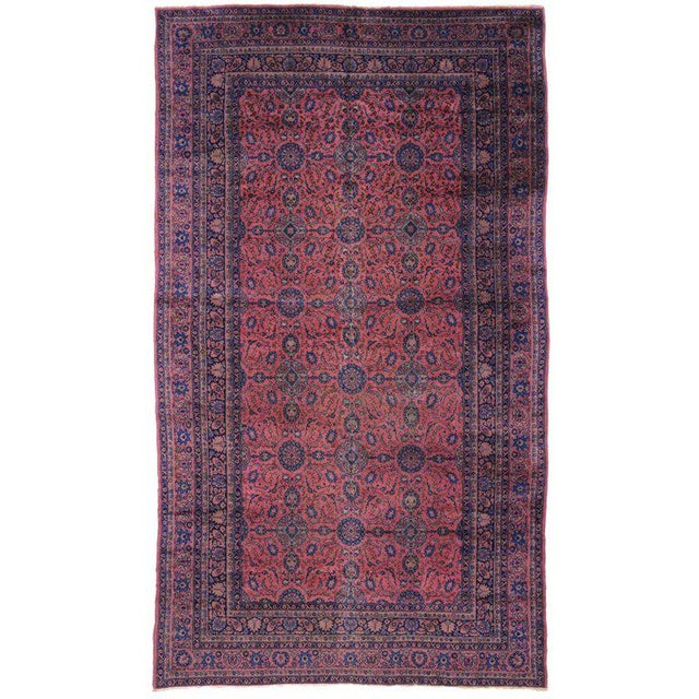 Blue Jewel-Tone Antique Turkish Sparta Gallery Rug For Sale - Image 8 of 8