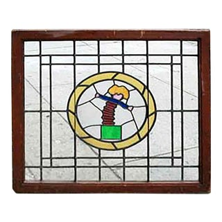 Late 20th Century Jack in the Box Stained Glass Window For Sale