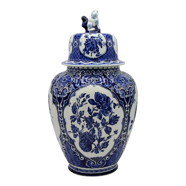 Extra Large Mid-20th Century Dutch Blue and White Royal Maastricht Delft Ginger Jar For Sale
