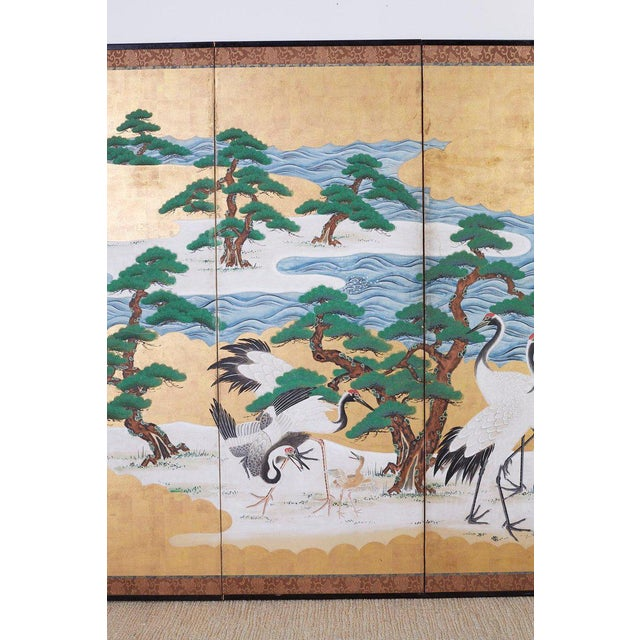 Brass Japanese Six Panel Screen of Cranes by the Sea For Sale - Image 7 of 13