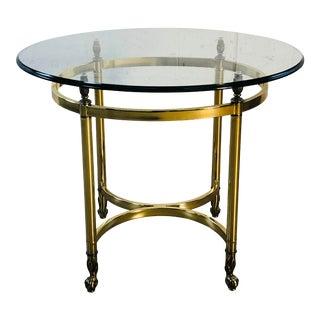 Vintage 1960s laBarge Oval Brass & Glass Side Table For Sale