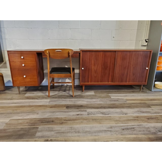 Mid 20th Century Mid-Century Modern Desk & Credenza - A Pair For Sale - Image 5 of 13