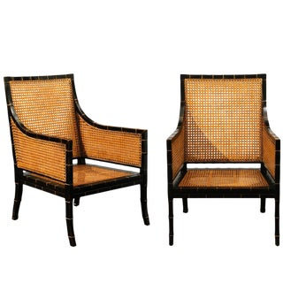 Beautiful Restored Pair of Large Scale Double-Sided Cane Club Chairs For Sale