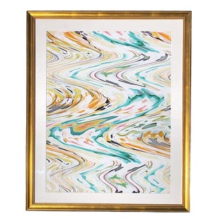 Large Abstract Contemporary Gold Framed Print in Linen Matt by Nancy Ramirez For Sale
