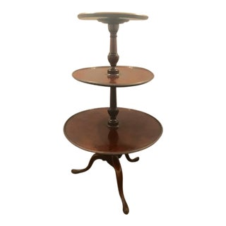 Revolving Georgian Three Tiered Mahogany Butlers Table Dumbwaiter For Sale