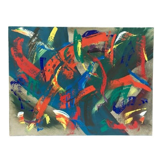 1980's Colorful Abstract Painting on Canvas Signed Rex For Sale