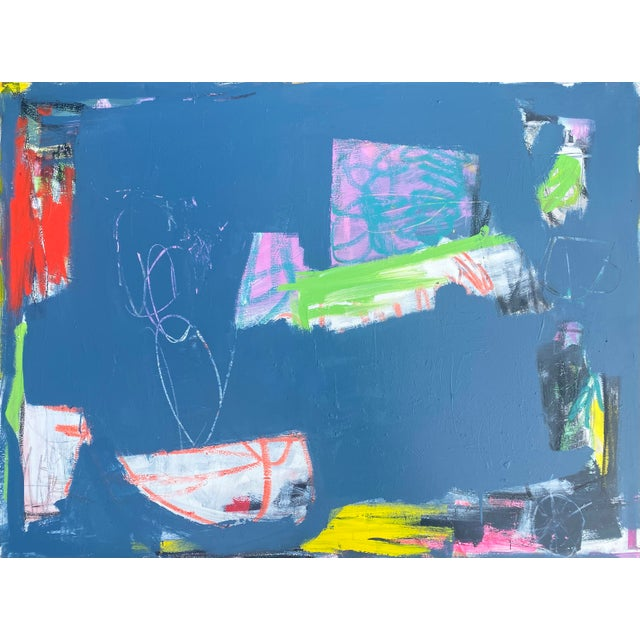 """Sarah Trundle """"Magic Bus: Blue No. 3"""" Contemporary Abstract Painting For Sale - Image 6 of 7"""