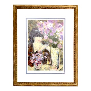 Impressionist Woman With Amethyst Flowers Potrait Original and Signed Print For Sale