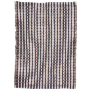 Cotton Vintage Turkish Embroidered Kilim- 6′1″ × 8′8″ For Sale