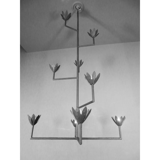 Metal 9 Bloom Plaster Chandelier For Sale - Image 7 of 8