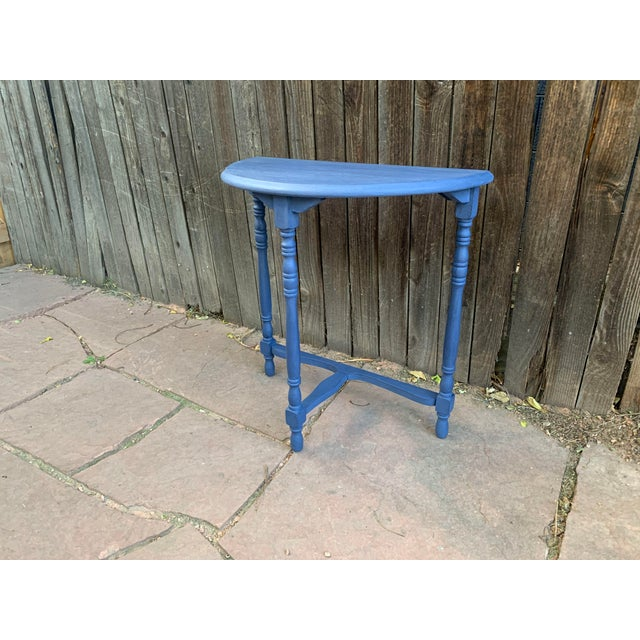 1960s Transitional Blue Chalk Paint Demi Lune Side Table With Turned Legs For Sale - Image 5 of 13