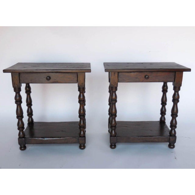 Superb Pair Of Custom Walnut Side TablesNightstands With Turned - Walnut side table with drawer