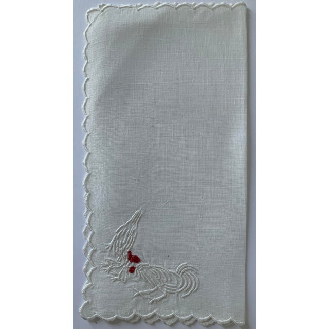 Farmhouse Set of 6 Rooster & Hen Embroidered Cocktail Napkins For Sale - Image 3 of 7