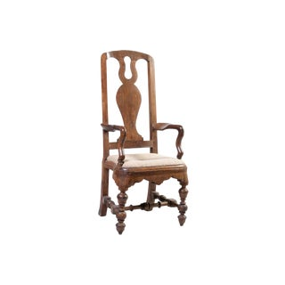 European Baroque Faded Walnut Armchair