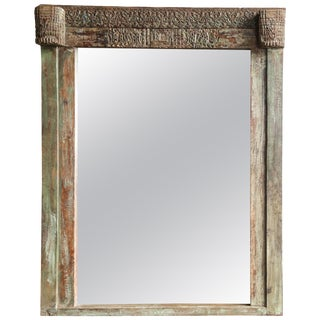 Early 19th Century Classic Carved Teak Wood Window Frame Mirror For Sale