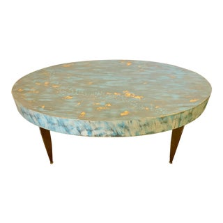 Painted Distressed Blue Oval Coffee Table For Sale