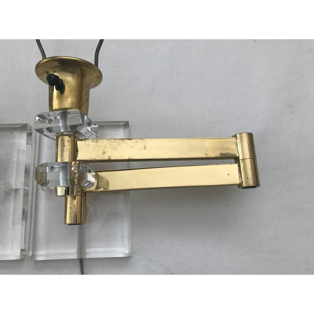Metal Walter Von Nessen Karl Springer Style Lucite Acrylic Brass Wall Sconces - a Pair For Sale - Image 7 of 10