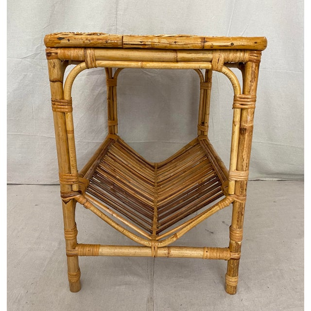 Mid 20th Century Vintage Rattan Wicker Side Table With Magazine Shelf For Sale - Image 5 of 13