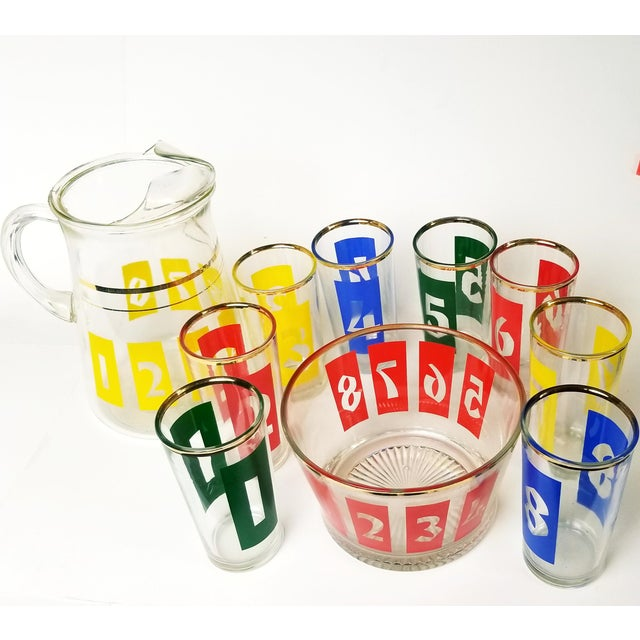 Mid-Century Decanter, Ice Bucket and Highball Glasses Numbered in Bright Primary Colors - Set of 10 For Sale In New York - Image 6 of 13