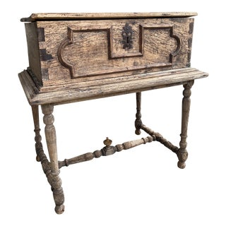 18th Cemtury French Wooden Coffer Chest With Stand For Sale
