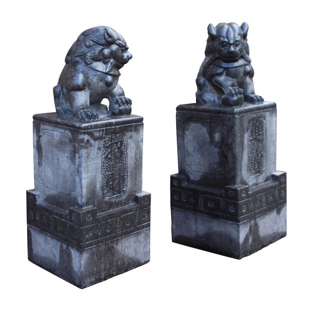 Asian Chinese Gray Stone Fengshui Pedestal Foo Dog Statues - A Pair For Sale - Image 3 of 6