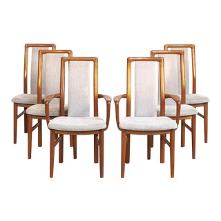 Mid Century Danish Modern Teak Upholstered Dining Chairs - Set of 6 For Sale