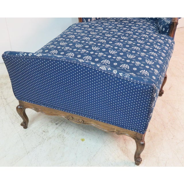 Mid 20th Century Louis XV Trouvailles Style Blue Upholstered Chaise Lounge For Sale - Image 5 of 7